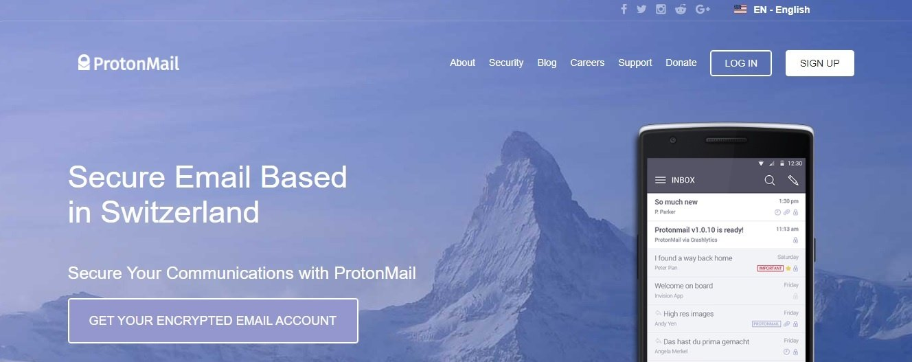 encrypted email services - protonmail